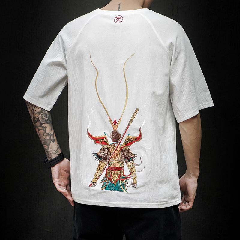 中国风齐天大圣孙悟空刺绣t恤男短袖宽松大码潮流夏季半袖体恤衫