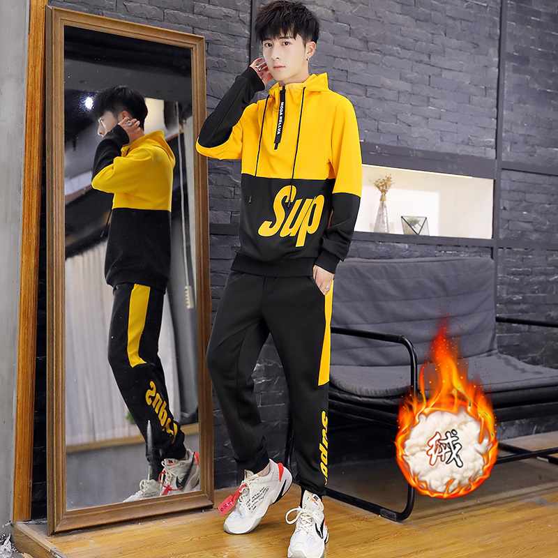 Autumn and winter men's sweater suits, teenagers, handsome, high school students, two-piece casual sportswear tide