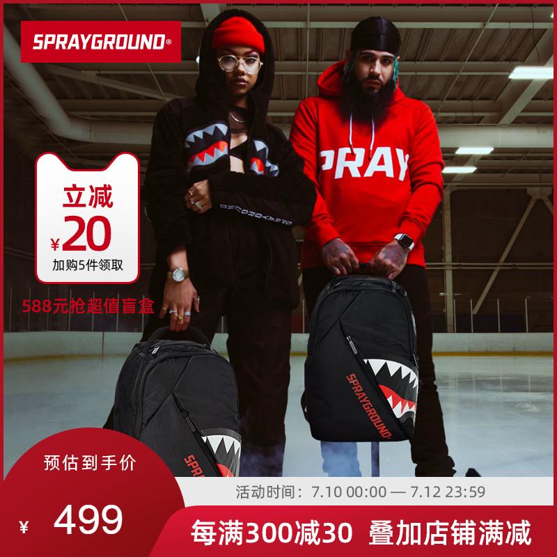 SprayGround潮牌ANGLE斜角款鲨鱼齿双肩包背包书包美国男女黑色