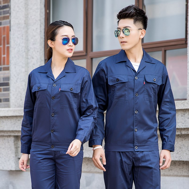 Cotton work suit mens short sleeve summer long sleeve thin mechanical automobile repair labor protection clothing engineering uniform