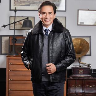 中年男士秋冬装外套男加绒加厚中老年人皮夹克爸爸装冬季皮衣保暖