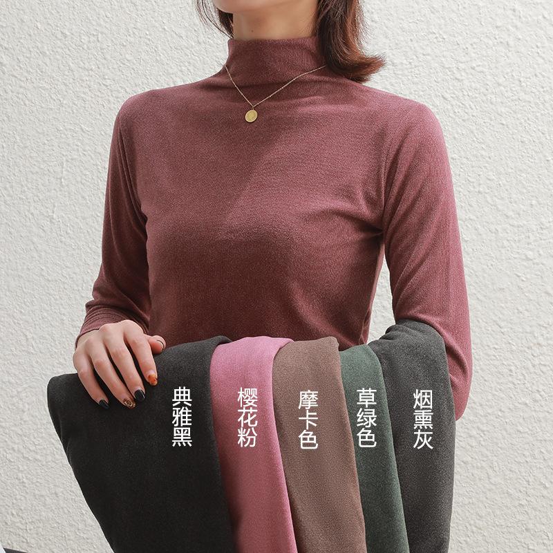 阳离子韩国秋冬德绒半高领长袖衫