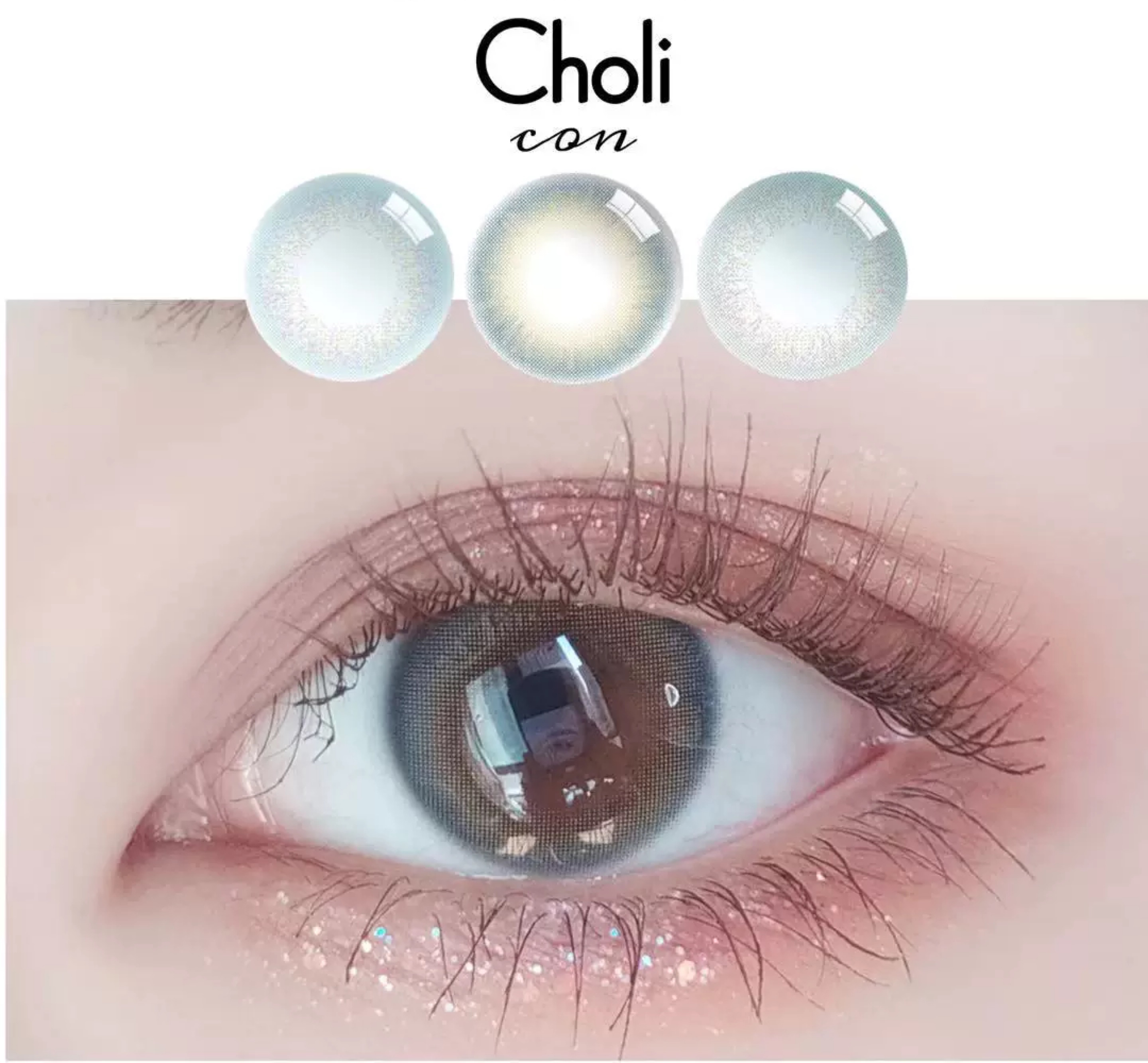 Choli Mei pupil Korea throws 2 female small diameter mixed blood color contact lenses pearl blue Zeus green blue