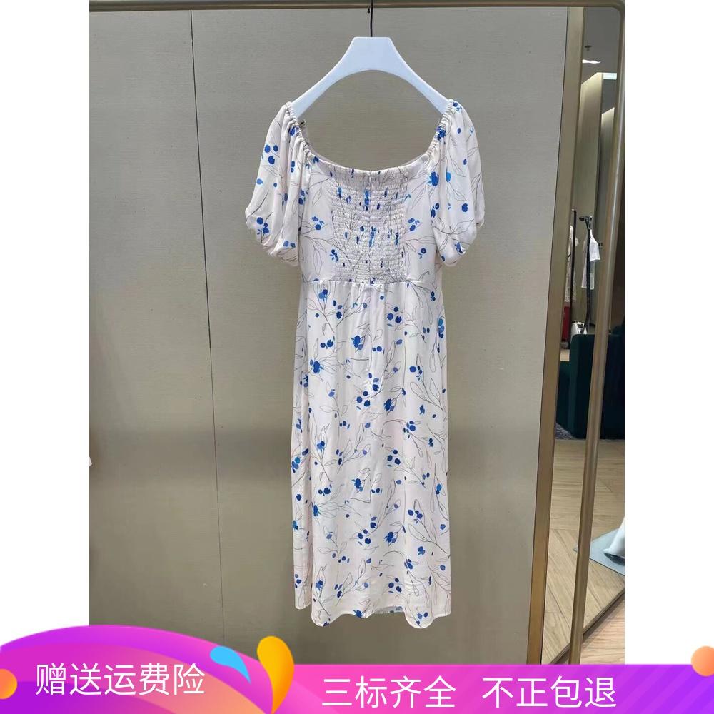 2021新品夏装伍欧时力淼一字领印花法式泡泡袖连衣裙女1NY2082560