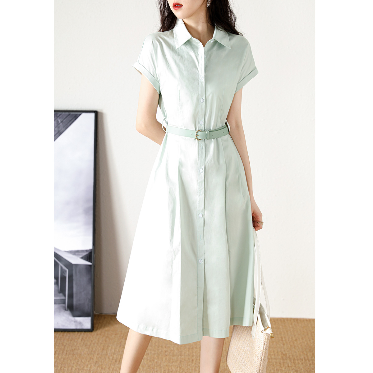 Xiqing cotton A-line shirt skirt 2021 new French niche design simple slim dress