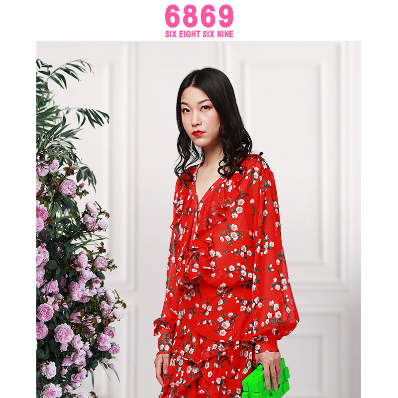 2020 autumn new V-neck floral long sleeve loose French retro chiffon shirt top female 6869