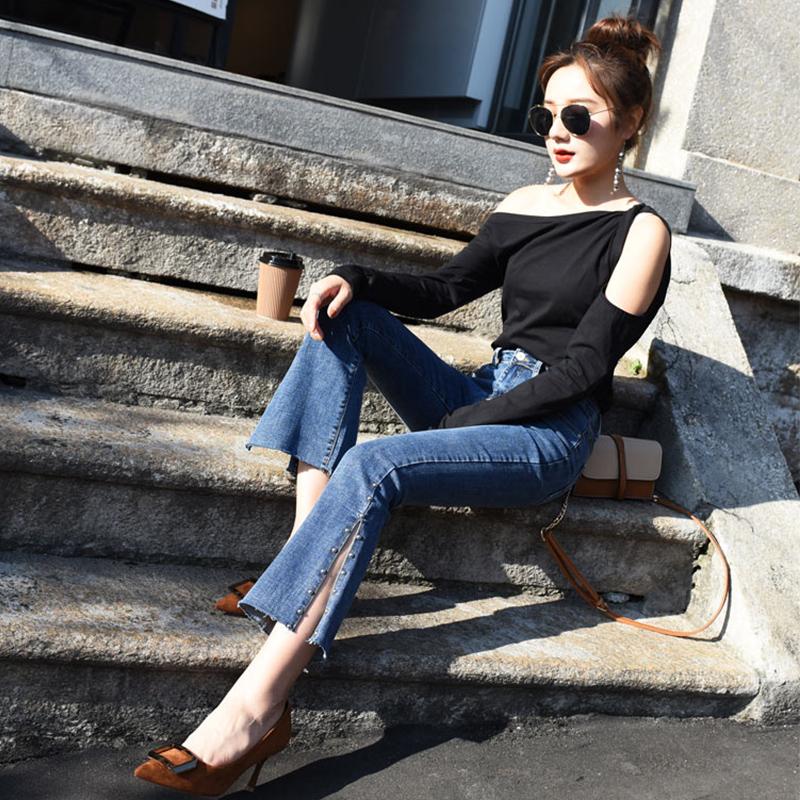 新款春季高弹喇叭裤子女韩版牛仔裤