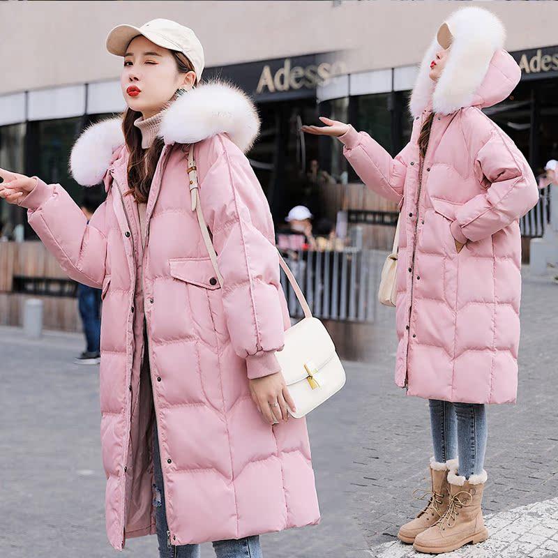 专柜季新歌莉娅羽绒服女中长款2020冬季新款韩版宽松真毛白鸭绒加