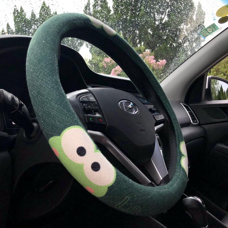 卡通汽车方向盘套亚麻车把套可爱女四季大眼蛙车上车内饰品车用品