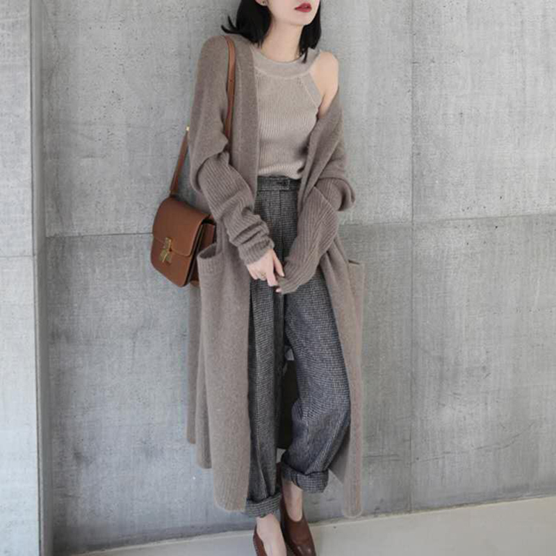 2021 spring new cashmere coat womens Korean long sweater thin knitting leisure lazy sweater coat
