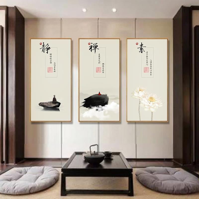 新中式禅意中国风挂画玄关竖版琴棋书画客厅书房酒店意境装饰挂画