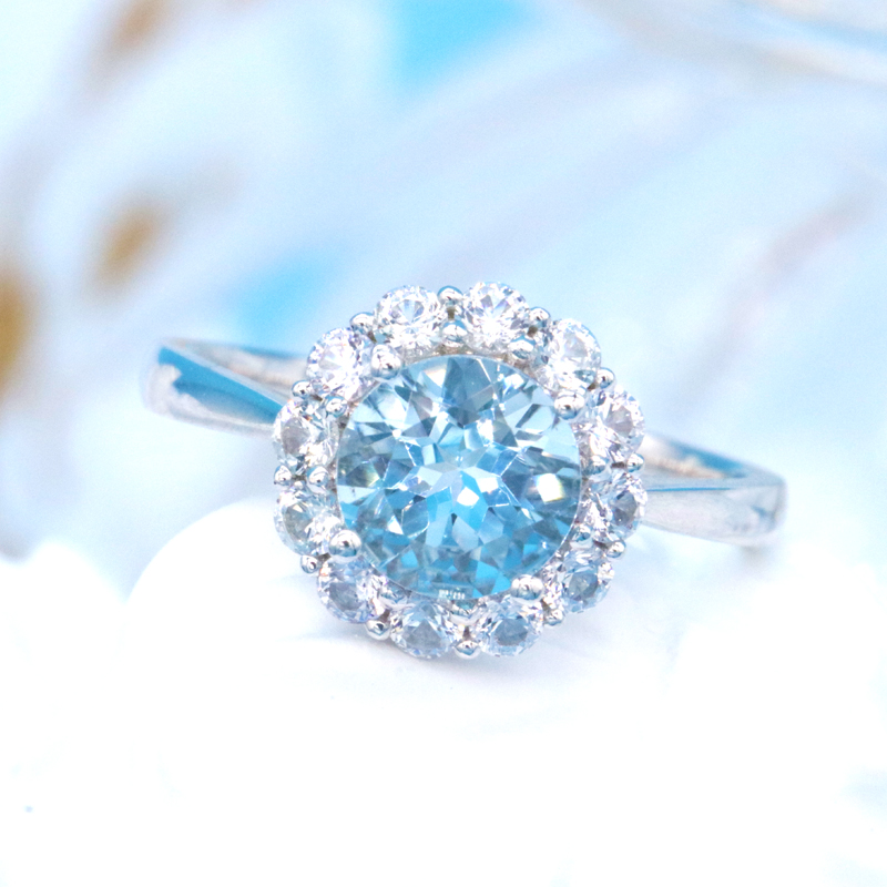 18K gold inlaid Santa Maria Aquamarine Ring Necklace boutique color treasure naked stone factory customized direct sales
