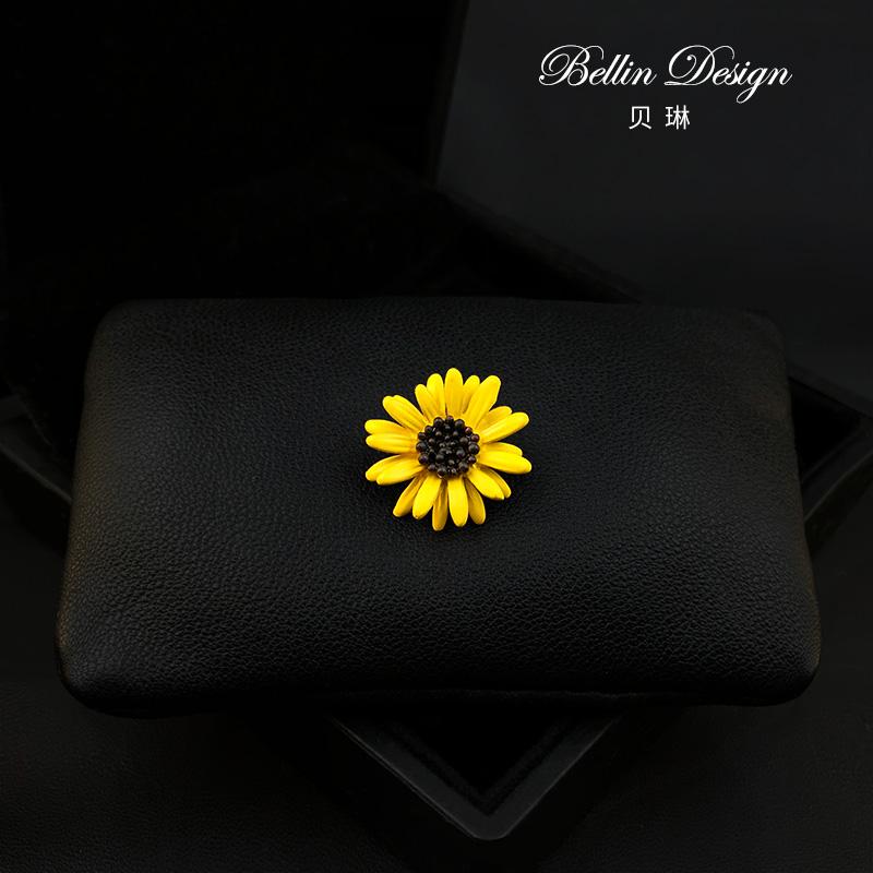 Mini cute Brooch womens accessories cardigan anti light chest flower sunflower collar pin 3299
