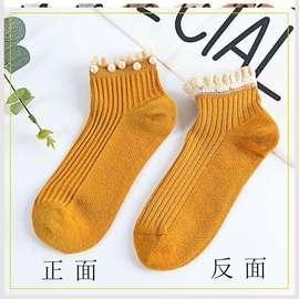 袜子女中筒袜ins潮带珍珠珠子花边蕾丝棉底短袜日韩系袜日系透气图片