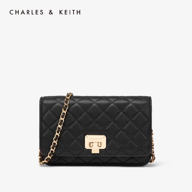 CHARLES&KEITH 菱格链条小包 CK2-70700460 斜挎单肩包秋冬女包