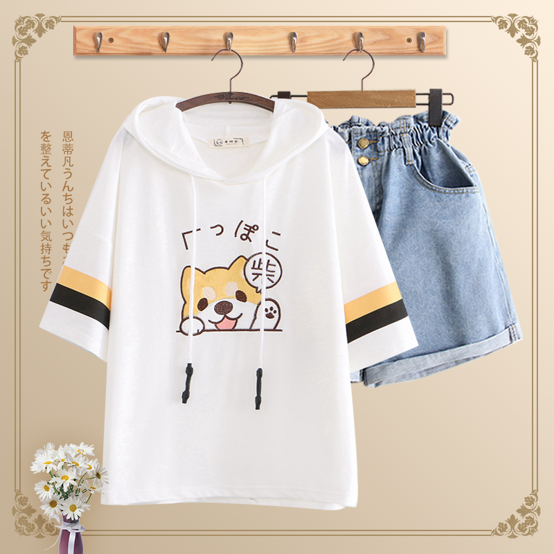 Junior high school students 12-16-year-old girl short sleeve T-shirt loose Korean cute 13 high school cotton summer suit