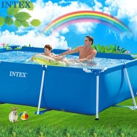 INTEX游泳池长方形管架便携移动水池大型家庭儿童简易户外内鱼池