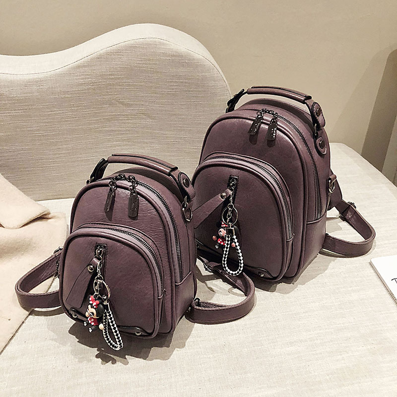 Soft leather backpack womens small bag womens version versatile fashion backpack small shoulder bag 2020 new multi-purpose Backpack