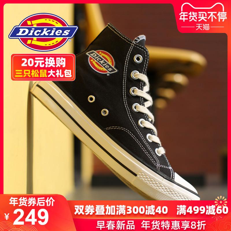 Dickies男鞋帆布鞋高幫2020春夏季新款潮加絨百搭板鞋韓版鞋子