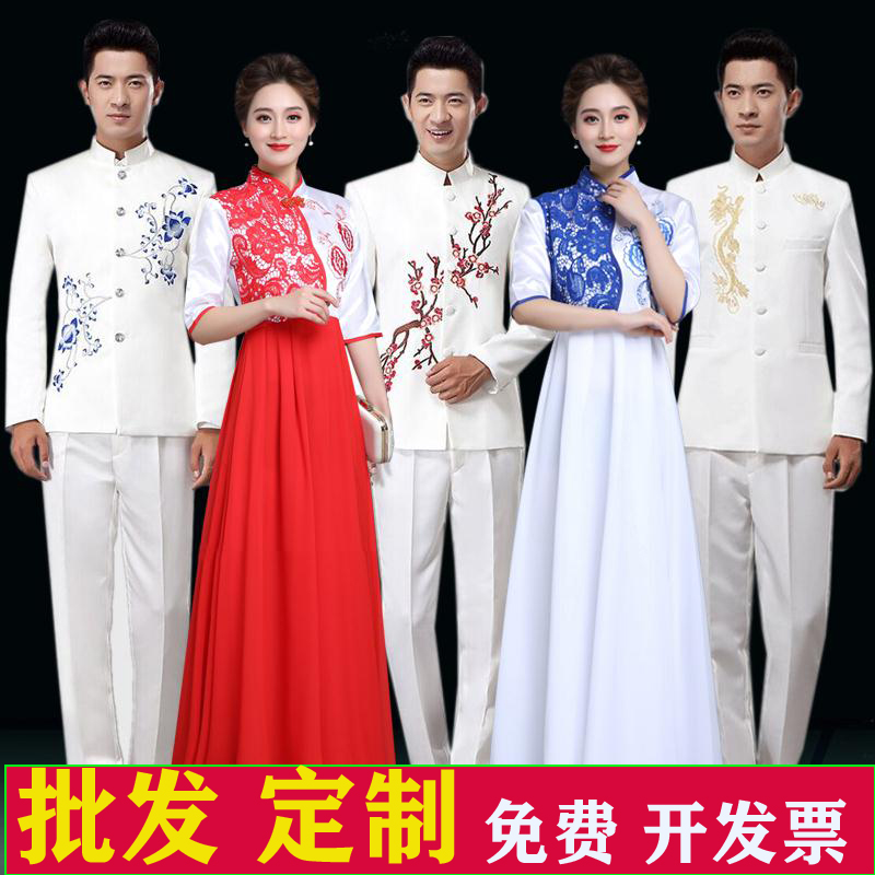 New Year's Day blue and white porcelain Chinese style female red long dress host evening dress chorus middle and old