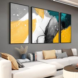 现代简约客厅装饰画抽象三联画轻奢沙发背景墙挂画油画大气墙壁画