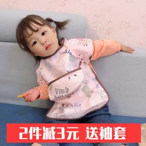 宝宝吃饭罩衣防水防脏夏季薄款围裙儿童反穿衣婴儿无袖围兜饭兜