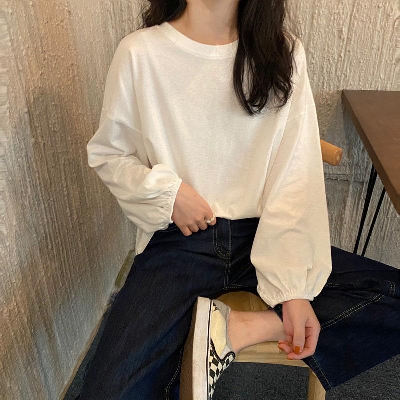 长袖T恤女2020新款韩版宽松学生ins网红百搭简约纯色灯笼袖上衣潮