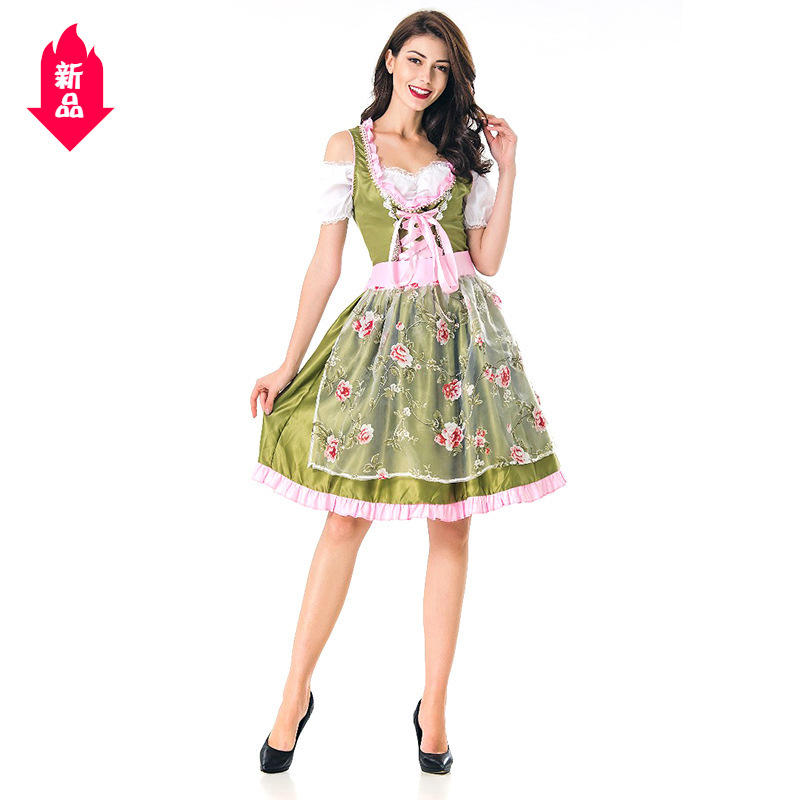 Halloween Costume Adult Female Cosplay German beer costume green Maid Costume lovely show costume A13