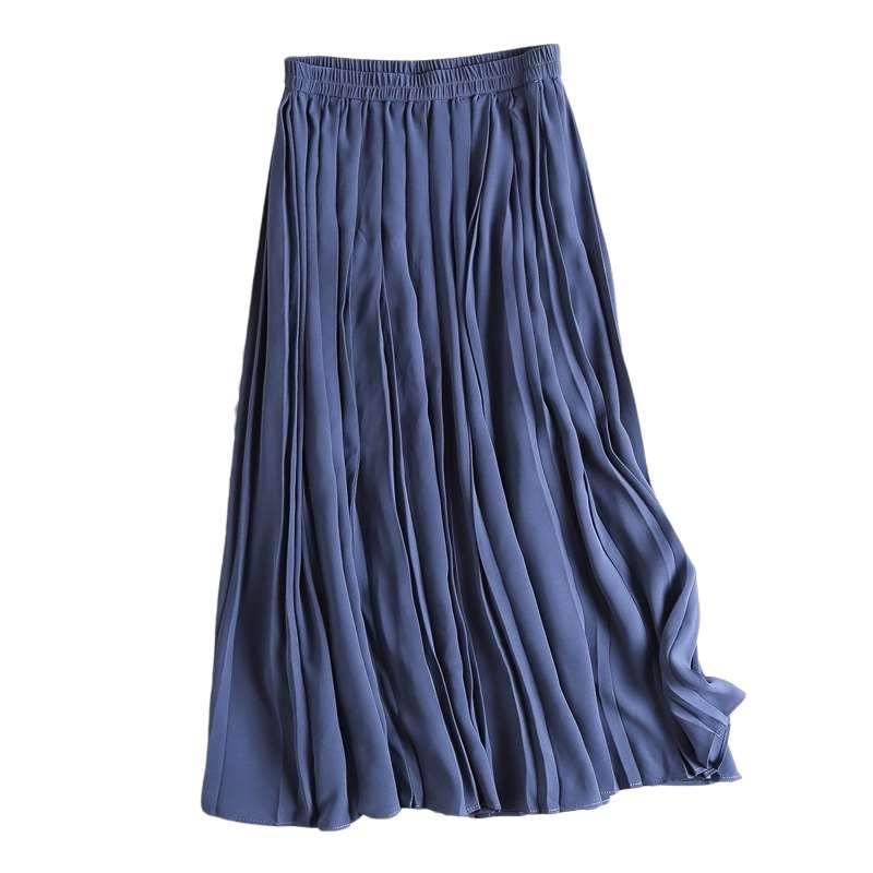 Rose u fitting room spring and summer 2020 high waist cotton fishtail medium length solid color skirt with big swing skirt