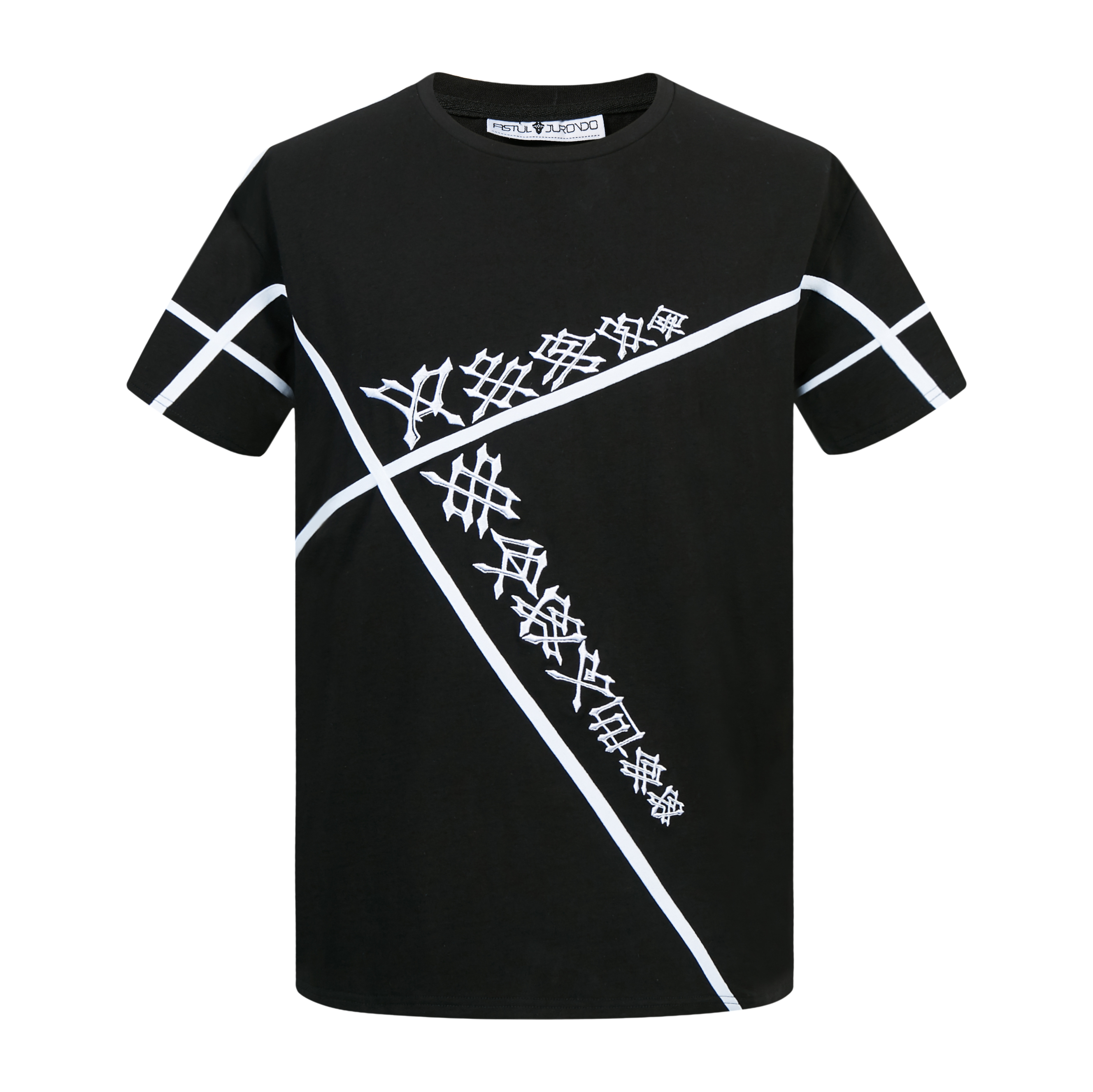 Ju Rong Tai mens cotton T-shirt boys punk topology letter T-shirt: Gothic sharp dark