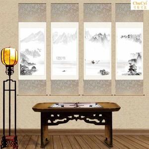 水墨山水条幅四条屏山水挂画装饰新中式卷轴四联画公司卷轴挂画
