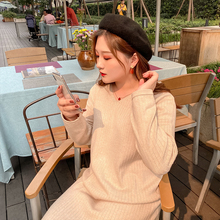 Chubby Jiajia large size customized chubby mm autumn and winter new style knitting bottoming lazy wind loose dress women's long skirt