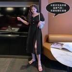 胖佳佳大码连衣裙女夏赫本风胖MM显瘦遮肉气质开叉黑色短袖中长裙