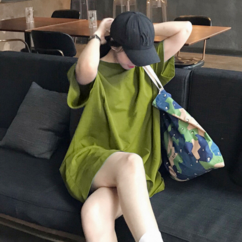 短袖t恤女2020中长欧货春夏新款宽松韩版上衣纯色韩国东大门女装