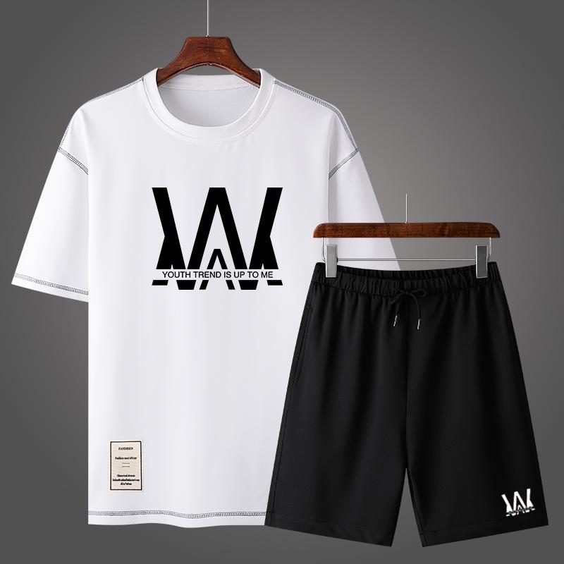 夏装2020新款套装男士短袖t恤韩版休闲运动痞帅气男装一套搭配潮