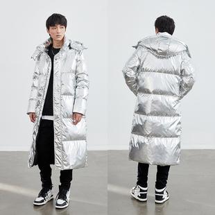 2020年新款 加厚潮牌冬外套 加长过膝大码 羽绒服男士 银色亮面超长款