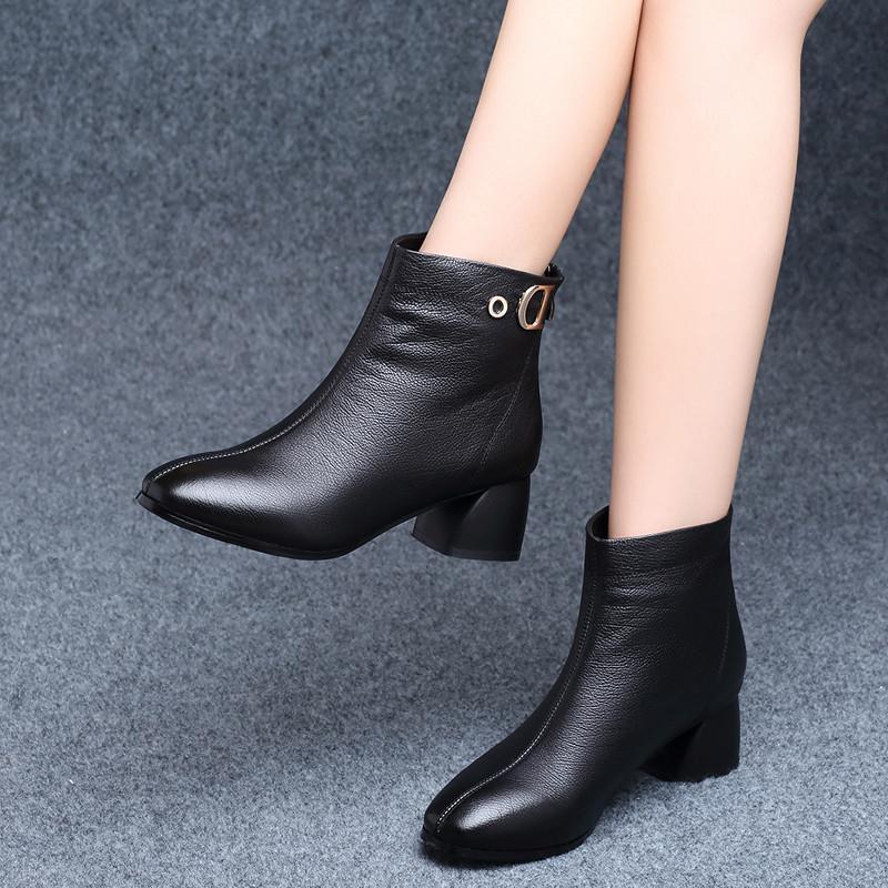 短靴女秋冬19款英伦风百搭中跟粗跟高跟皮鞋冬季加绒春秋单靴图片