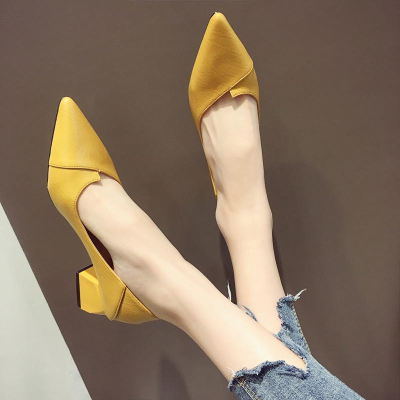 34-41】尖头低跟粗跟单鞋女浅口平底鞋子漆皮蝴蝶结工作女鞋