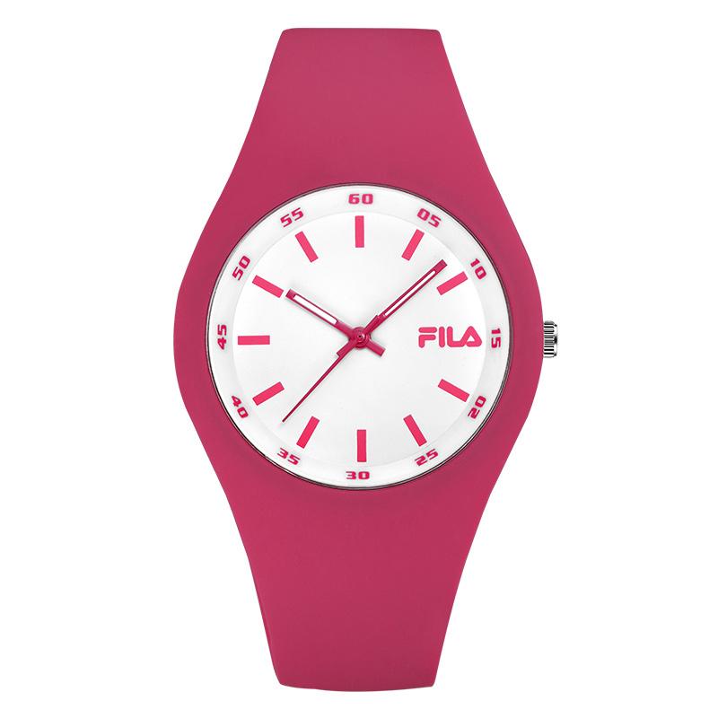 FILA/斐乐正品潮牌果冻玫红硅胶石英表运动学生表男女情侣手表777