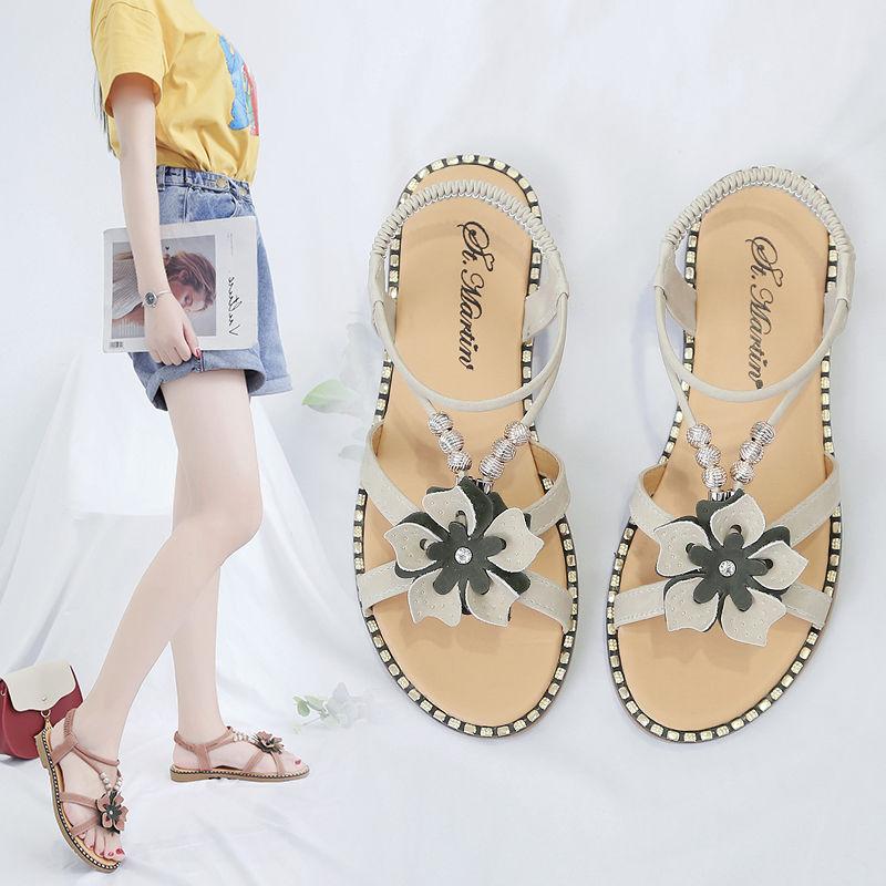 仙女风凉鞋女学生2021夏季新款女鞋韩版百搭沙滩鞋平底厚底罗马鞋