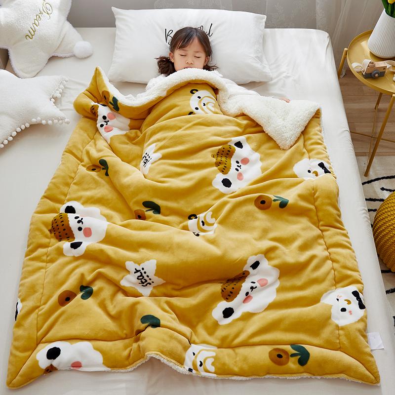 儿童毛毯双层加厚冬季新生婴儿毯子秋冬盖毯法兰绒幼儿园宝宝被子