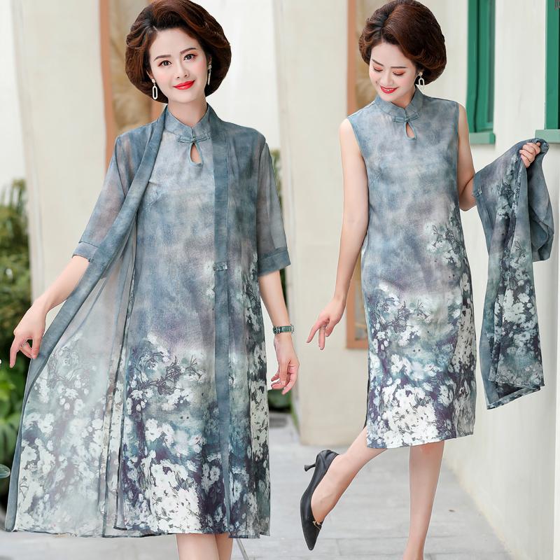 妈妈洋气旗袍连衣裙40岁50中老年女夏装气质高贵大码宽松雪纺裙子