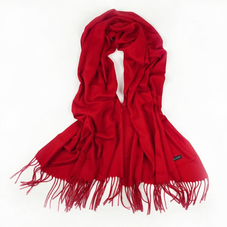 纯色保暖围巾披肩两用大红色中国红送礼年会秋冬季百搭仿羊绒流苏