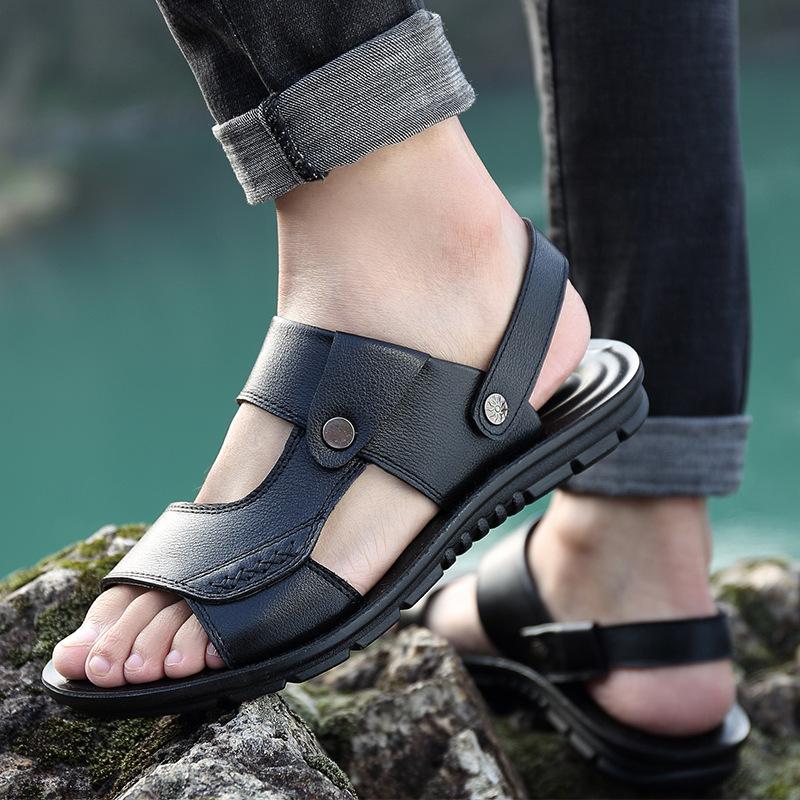 凉鞋男2021夏季新款经典头层牛皮休闲沙滩鞋男士户外两用凉拖鞋