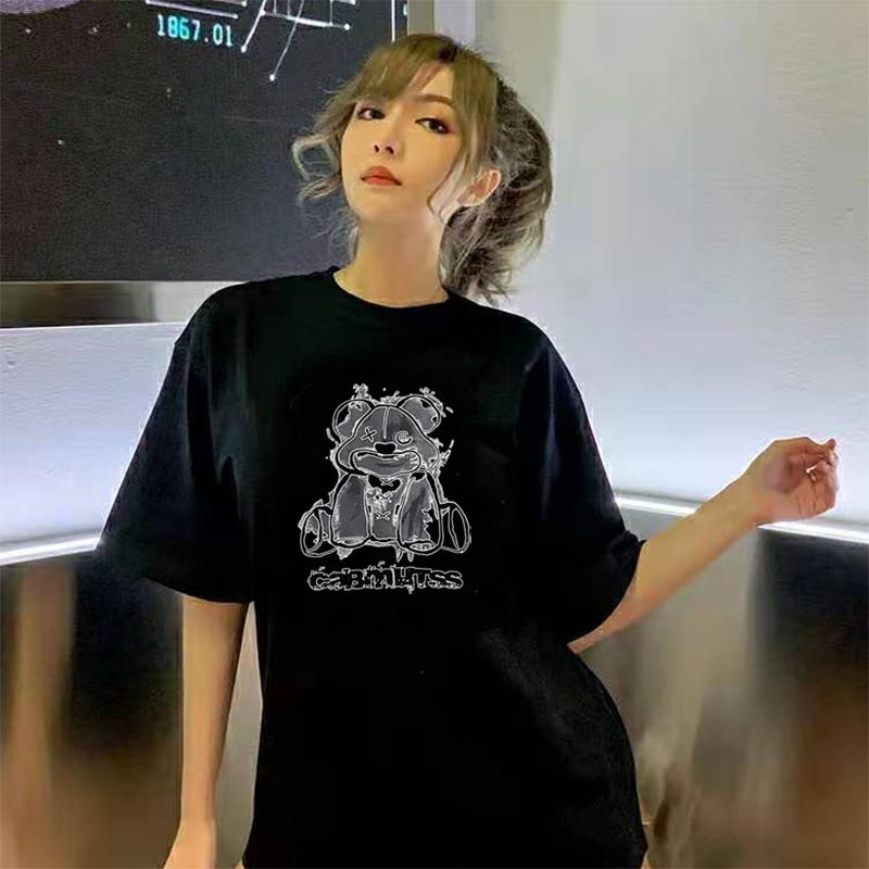 2021新款韩版短袖女春夏宽松大码印花t恤百搭学生纯棉半袖上衣潮