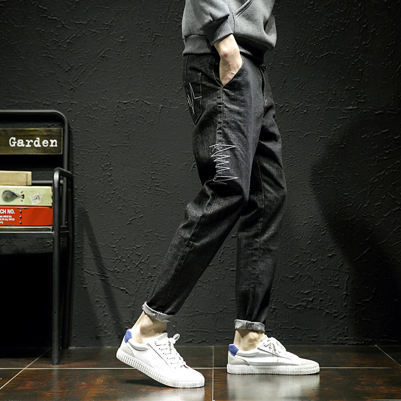Jeans mens autumn new Korean Trend 9-point pants loose and versatile large youth casual small leg long pants