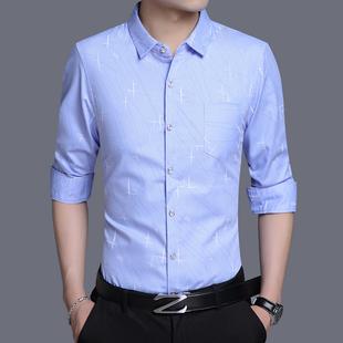 梵客隆长袖衬衫男韩版休闲修身衬衣2019青年男士秋季印花免烫衬衣