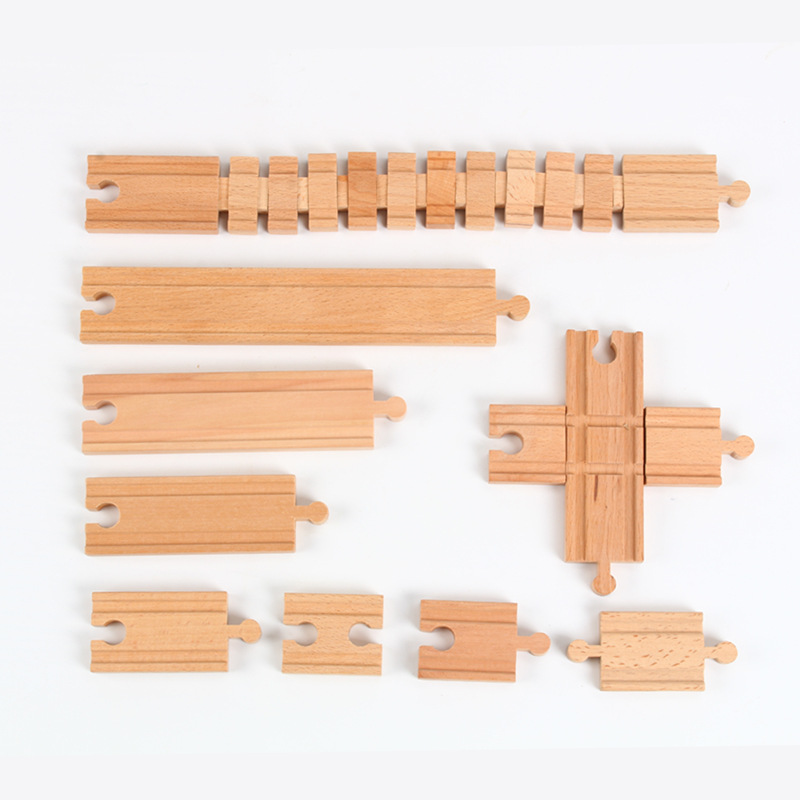 Wooden assembly bulk rail accessories straight rail series compatible with IKEA small Brio rice rabbit train scene toys