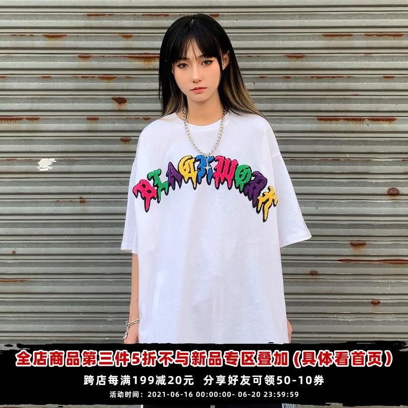 打怪 个性街头短袖t恤女ins潮2021新款国潮创意爱心夏季宽松上衣