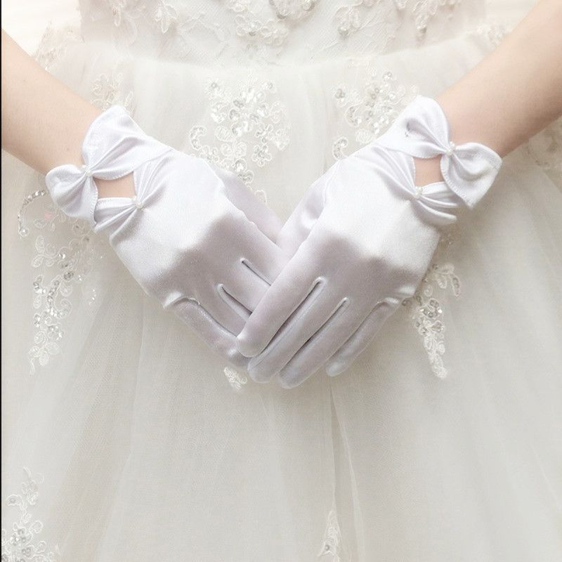 Wedding summer Korean wedding Korean version thin short Lace Gloves Long headdress ultra thin Lace Satin driving